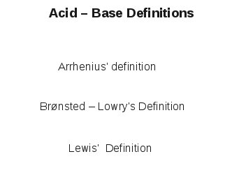 Acid-Base Definition