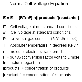 Nernst Cell Voltage Equation